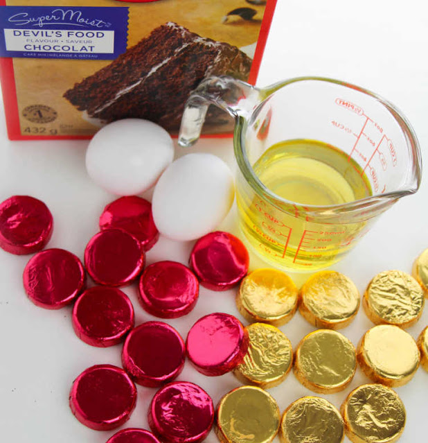 ingredients for making peppermint candy stuffed chocolate cake mix cookies