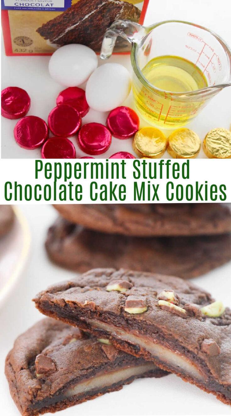 peppermint stuffed chocolate cake mix cookies