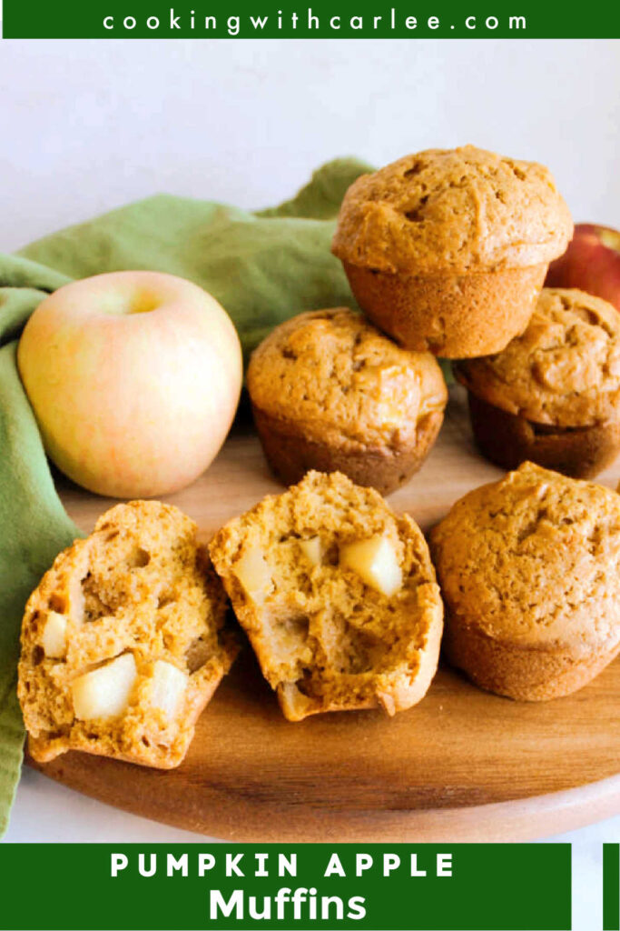 These muffins ooze fall. Loaded with pumpkin, apples and warm spices, they are soft and delicious bakery style muffins. This recipe has stayed a family favorite for good reason!