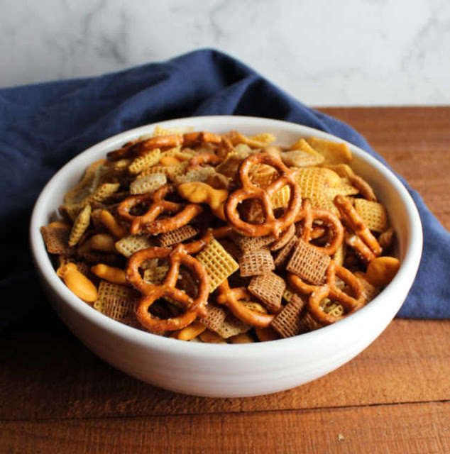 serving bowl of classic chex mix