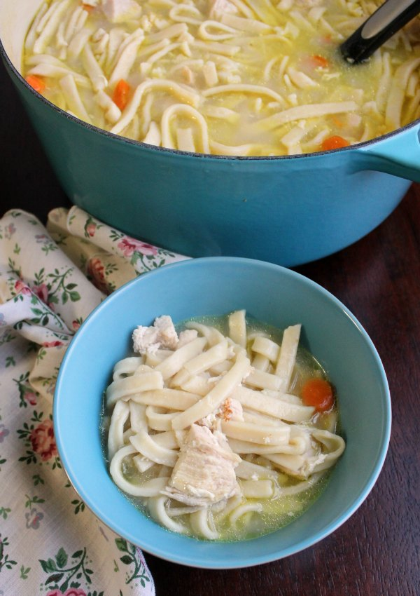 pot of chicken and noodles with homemade egg noodles