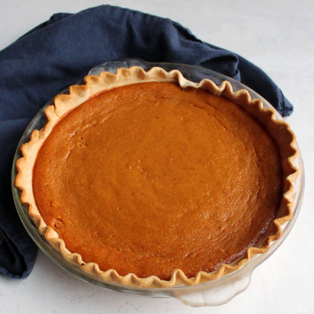 whole pumpkin pie made with sweetened condensed milk.