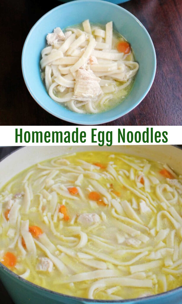 These homemade egg noodles are perfect for making chicken noodle soup. They are also great for beef and noodles or any variety of comfort foods.  But they are perhaps most famous for showing up as a side dish on our Thanksgiving plates.  No matter how you serve them, they are fun to make and a great project for the family. Nothing tastes as good as homemade!