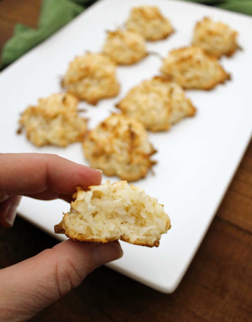 close up of inside of a coconut macaroon