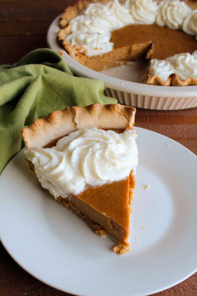 slice of sweetened condensed milk pumpkin pie served and ready to eat.