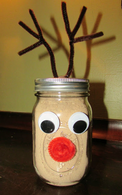 rudolph jar filled with hot cocoa mix