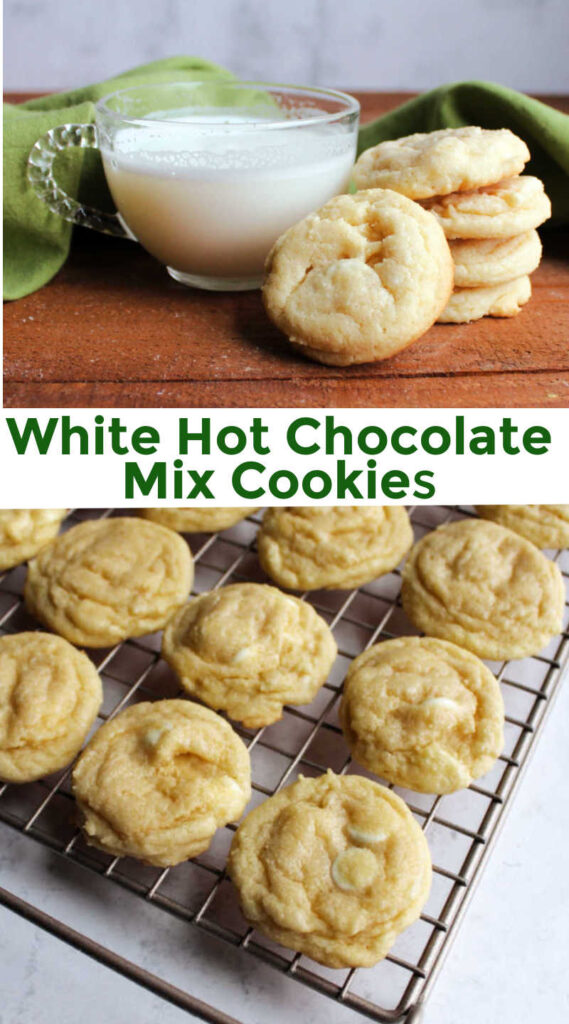 These scrumptious cookies are laced with white hot chocolate. They are perfect for dunking, but they are fabulous on their own as well.
