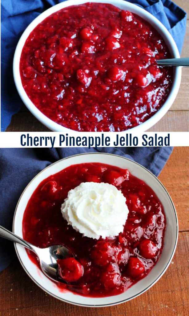 This fun cherry pineapple Jello salad is sure to be a hit with your family. It is a simple make ahead side dish or simple dessert that is festive for a holiday or fun for a BBQ.