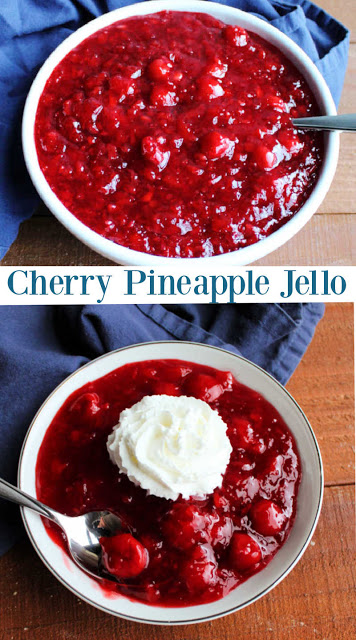 There is something nostalgic and fun about a good jello salad. This recipe is loaded with cherries and pineapple. It is easy to make and fun to eat. We love it as a scoop and serve salad, but it can easily be converted into a more solid slice if you'd like. Either way it is a tasty way to get enjoy your fruit.  The whipped cream is optional, but highly encouraged!