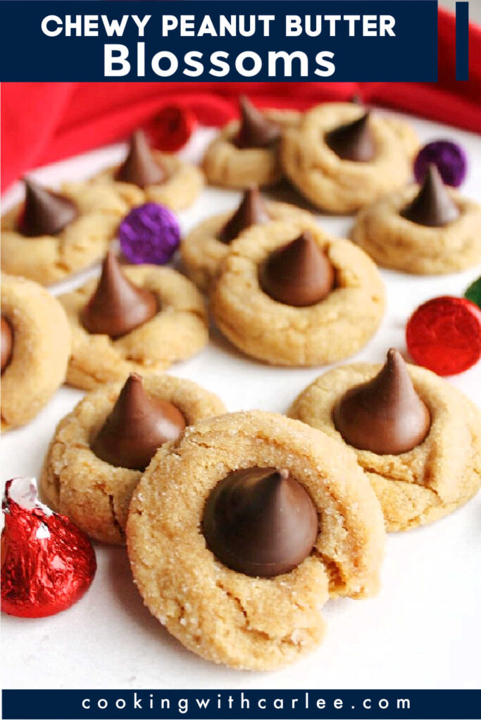 Peanut butter blossom cookies are a classic for good reason.  The combination of chocolate candy and peanut butter cookies is hard to beat.  This recipe gives you nice soft chewy peanut butter cookie bases.  We like to use a variety of kisses on top, so everyone can have their favorites!