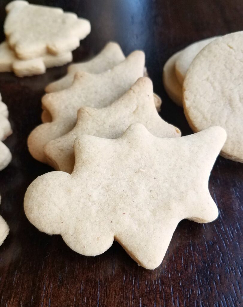 peanut butter cookies in holly shapes.