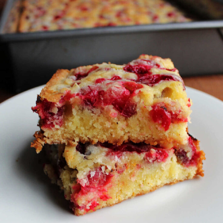 two cakey bars dotted with fresh cranberries stacked on each other