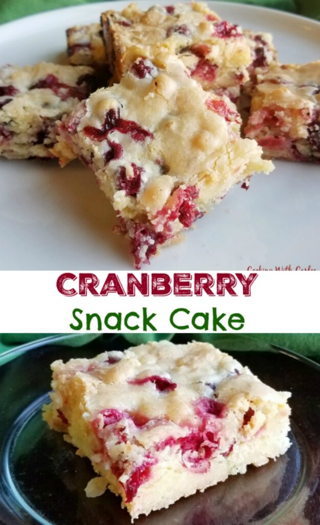 Cranberry snack cake is a perfectly simple and delicious dessert for the holidays. Use fresh or frozen cranberries and cut into bars for a tasty treat.