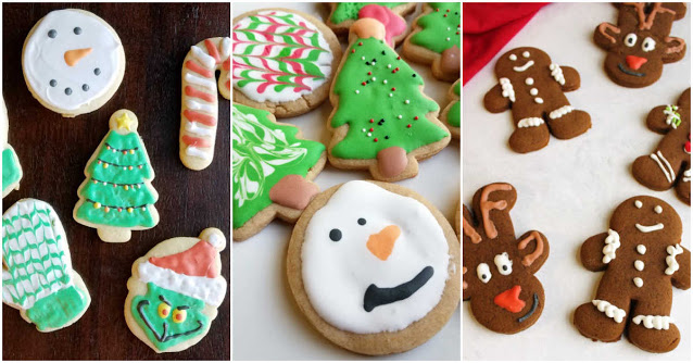 collage of sugar cookies, peanut butter cookies and gingerbread cookies