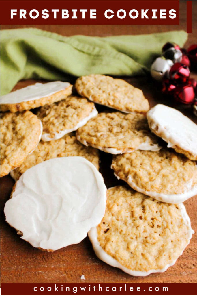 Frostbite cookies are the perfect combination of everything you'd want in a cookie. They have just a hint of peppermint, and that sweet buttery cross between being crunchy and melt in your mouth.