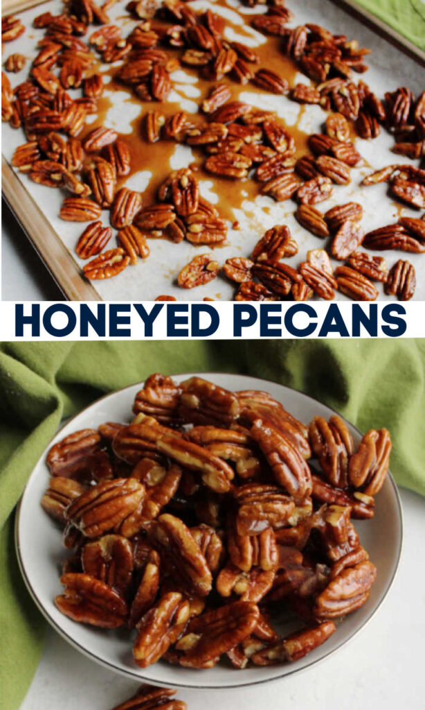 Delicious 4 ingredient honeyed pecans are extra tasty candied nuts. They are a perfect snack on their own or as a topping for so many things.
