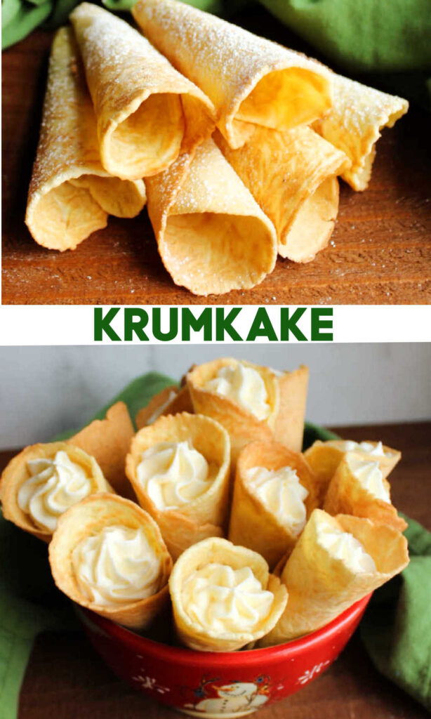 Scandinavian krumkake cookies are crunchy and delicious treats that are cooked on the stove instead of the oven. Fill them with whipped cream, fruit or frosting for an extra special dessert.