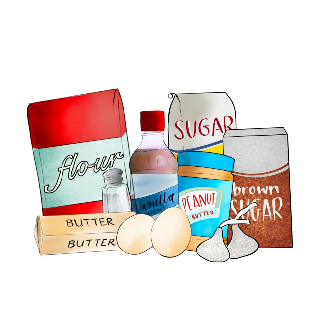 peanut butter blossom cookie ingredients illustrated.