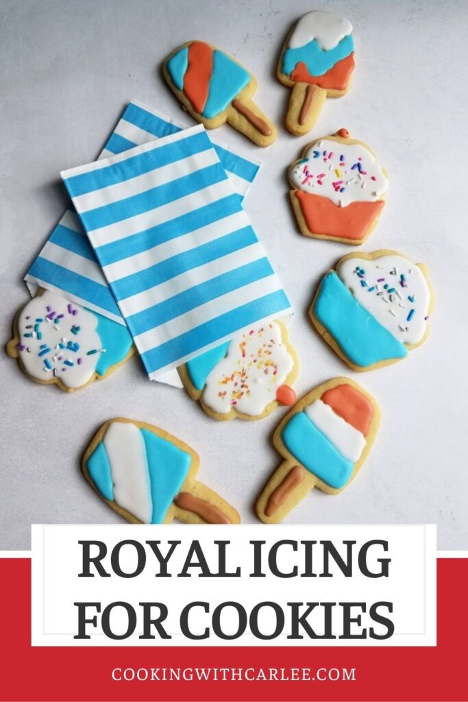 Royal icing is great for making all sorts of different designs on cookies. The recipe for the icing itself is really simple. Using it can be intimidating though, so let me show you a quick and easy way to decorate cookies with royal icing. This method lets you be creative without too much fuss and very little equipment.  Your cookies can be the hit of the holidays!