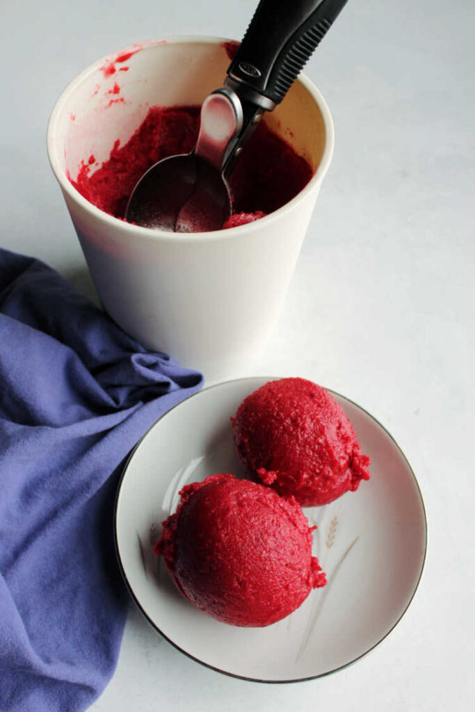 2 scoops of raspberry sorbet in bowl with storage container in background.