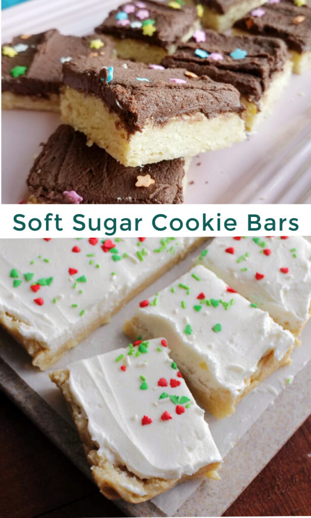 Super soft sugar cookie bars topped with a fluffy layer buttercream are a fun and easy treat. They are so much quicker to make than individual cookies and taste great!
