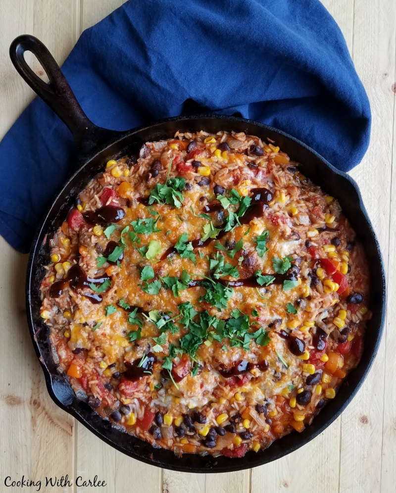 pulled pork and rice skillet mean in large cast iron skillet