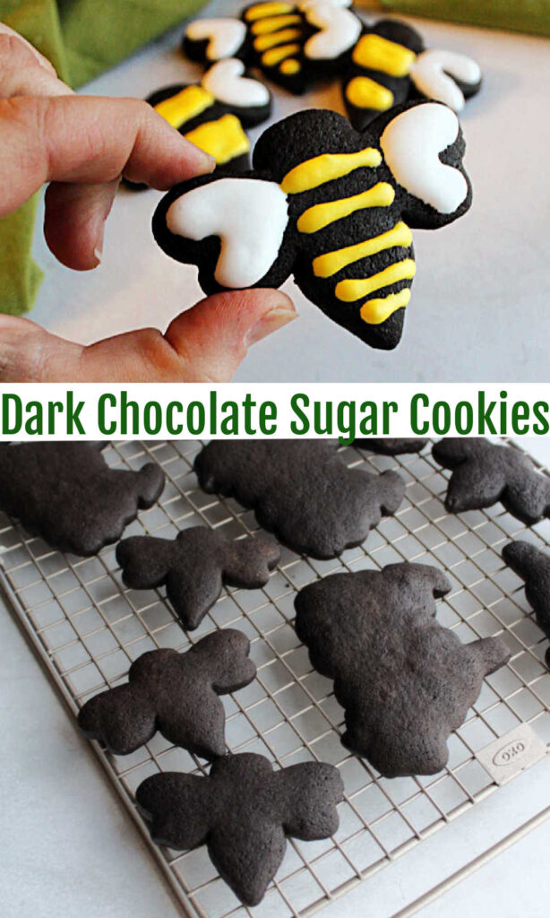 These chocolate cookies have a deep dark color, great chocolate flavor and are perfect for rolling out and cutting into shapes. Your decorated cookie game just went to the next level!