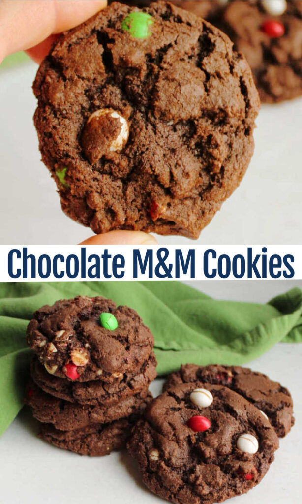 Chocolate fans rejoice, rich chocolate cookies loaded with M&Ms are a perfect way to celebrate our favorite flavor.  These cookies come together quick and easily.  They are a great way to use up some extra candy and are perfect for a party.  They would also be a fun addition to your holiday baking. No matter the reason, they are going to be delicious!