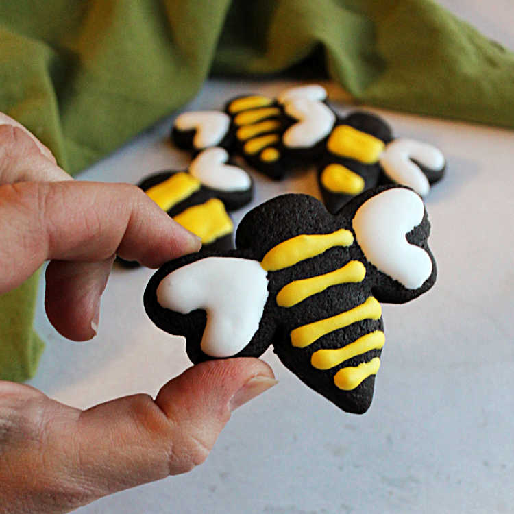 black chocolate bee cookie with yellow icing stripes and white icing wings.