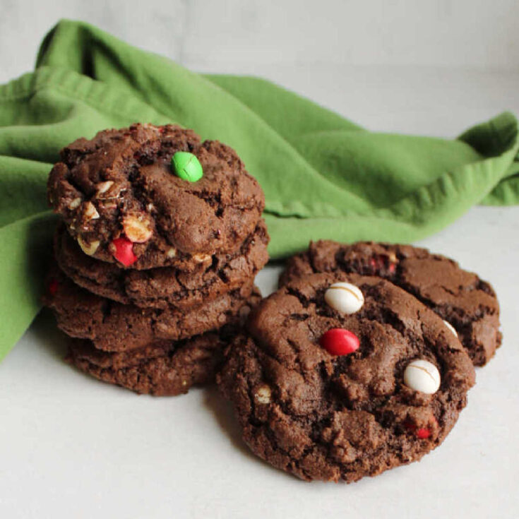 chocolate cookies with m&m's ready to eat.