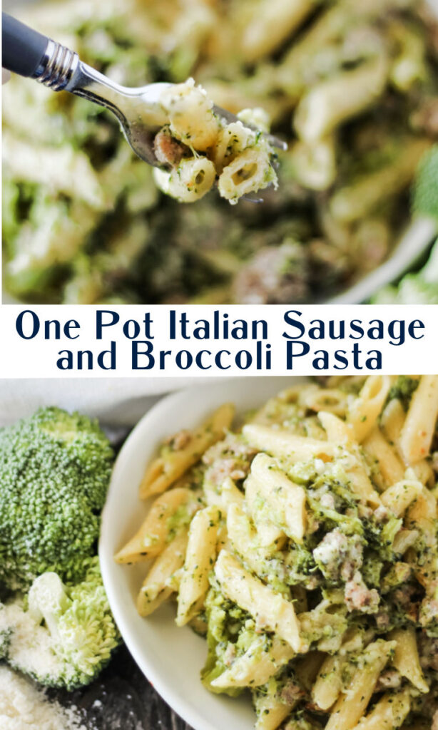One pot pasta recipes are perfect busy night meals. This recipe takes the rich flavor of Italian sausage and turns it into a fabulous well rounded dinner. The broccoli and pasta cook right in the same pot you used to brown the sausage, so there's basically no mess to clean up. Of course a sprinkling of cheese ties it all together at the end. It's a balanced meal and there's only one pot to clean when you're done!