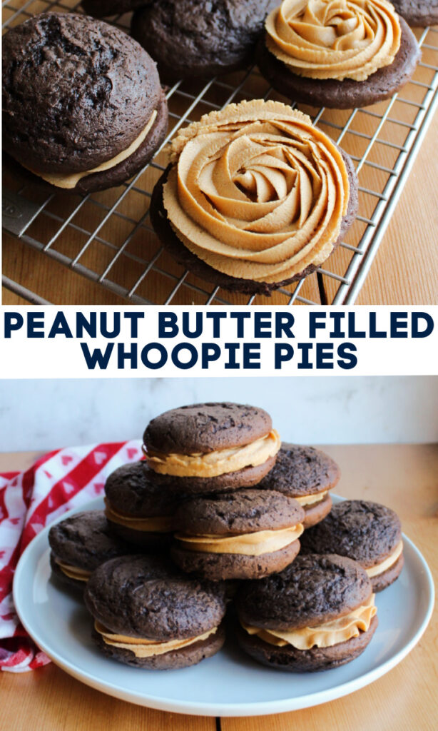 Homemade whoopie pies are the perfect mix of cookie, cake and frosting. This recipe uses the shortcut of a cake mix, so they are super simple to make. The filling has bold peanut butter flavor with the marshmallow undertones you would expect in a classic whoopie pie. The end result is a fun hand held treat that is sure to wow.