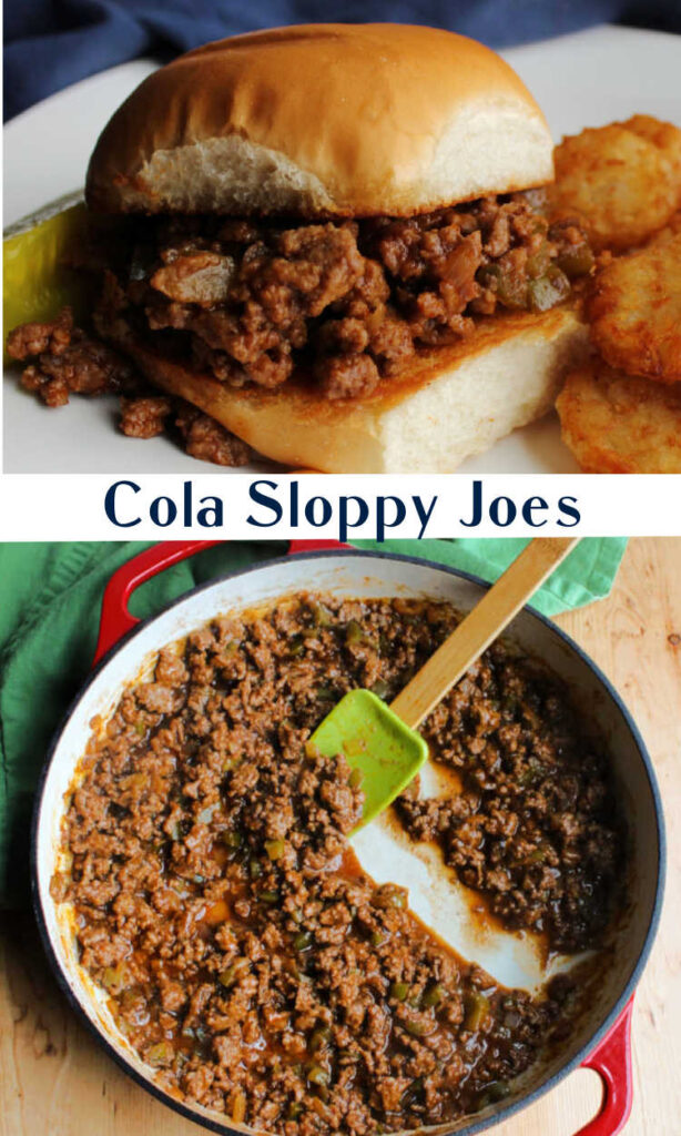 collage with sloppy joe mixture in pan and on a bun.