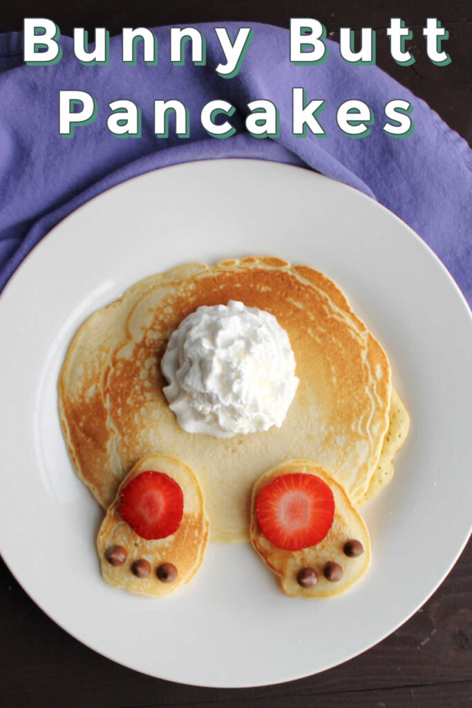 These bunny butt pancakes are cute as can be and they come together so quickly.  What a great way to treat your family on Easter morning!