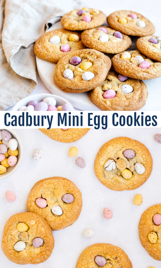 Cadbury mini egg cookies combine our favorite Easter candy with white chocolate chunks in big chewy cookies. What a wonderful way to make your spring cookies cuter and even more tasty.