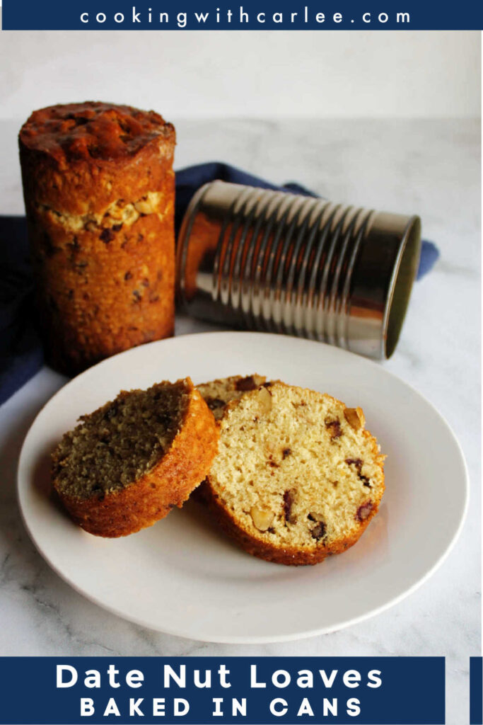 This quick bread is loaded with chopped dates and walnuts for a delicious combination. You could bake it as a loaf, but it is fun to bake it in emptied tin cans for a retro twist.