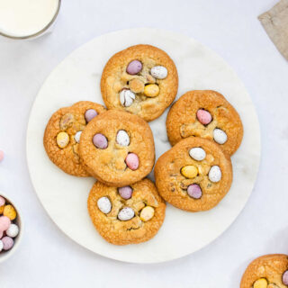 Plate of cadbury mini egg cookies, ready to eat.