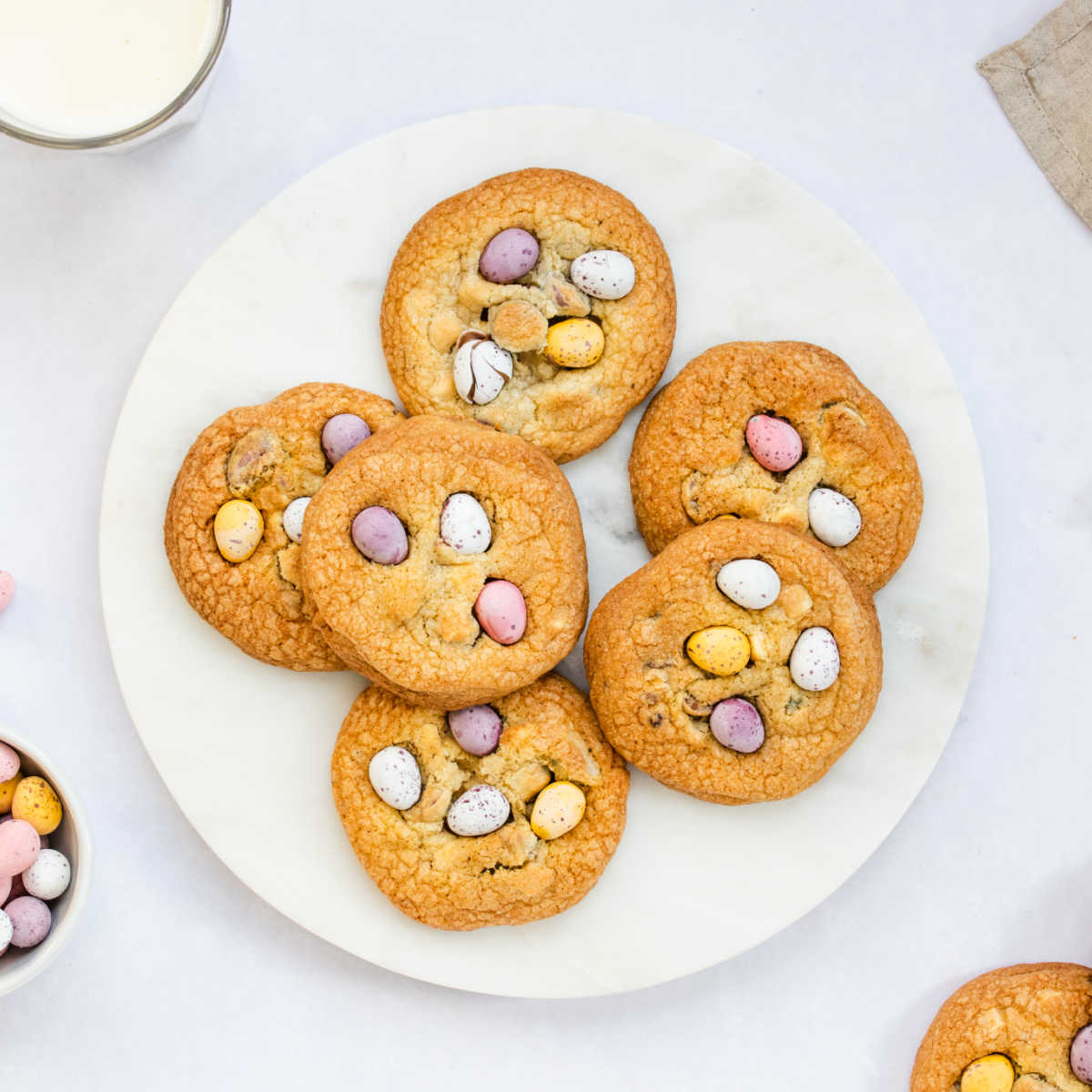 cadbury egg cookies on plate