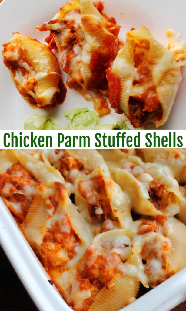 Chicken Parmesan stuffed shells are a mash up of two favorite restaurant dishes. It is baked to cheesy perfection and is sure to become a favorite meal at your family's dinner table.