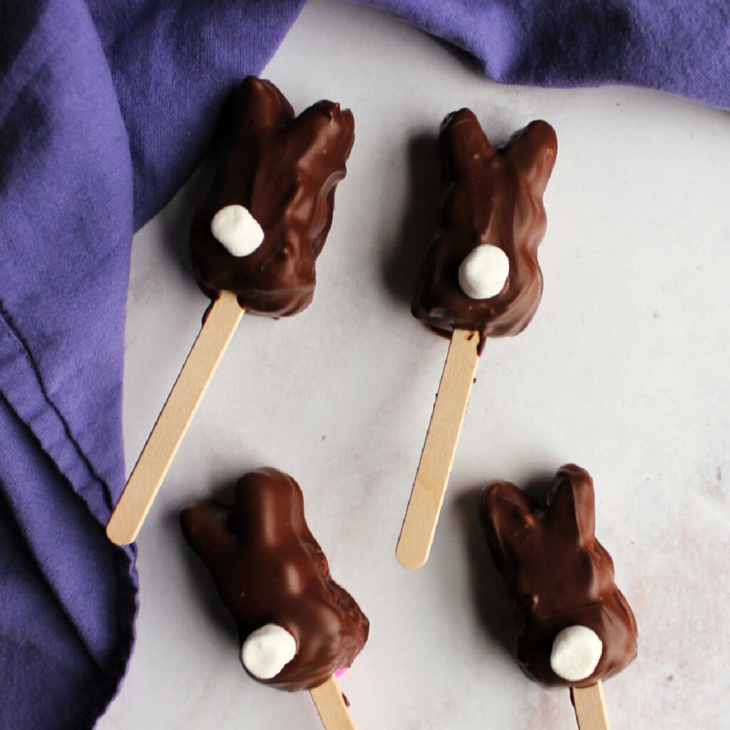 Chocolate dipped marshmallow bunnies with popsicle sticks and marshmallow tails.