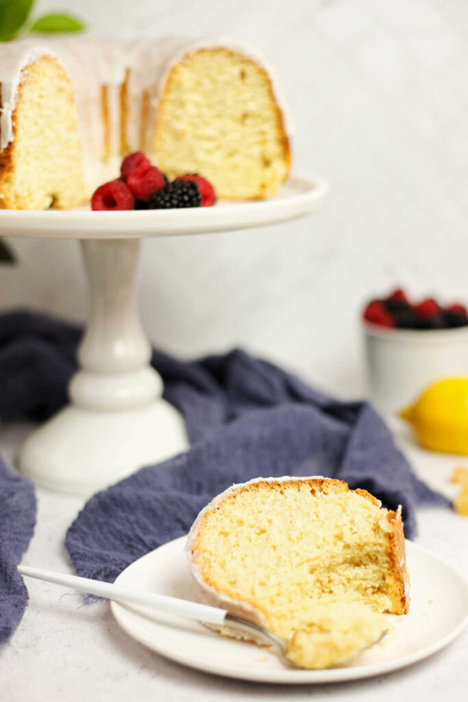 Forkful of lemon bundt cake ready to eat.