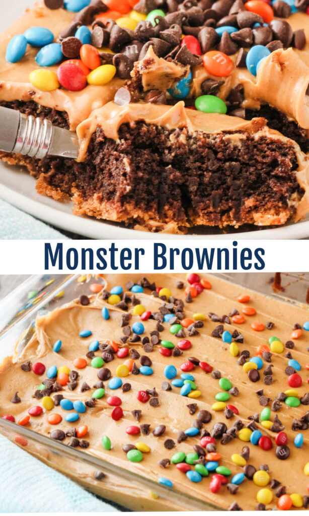 Make a brownie mix even more delicious with these layered monster brownies. They are the perfect combination of Graham cracker crust, rich chocolaty brownies and peanut butter for an extra special treat.