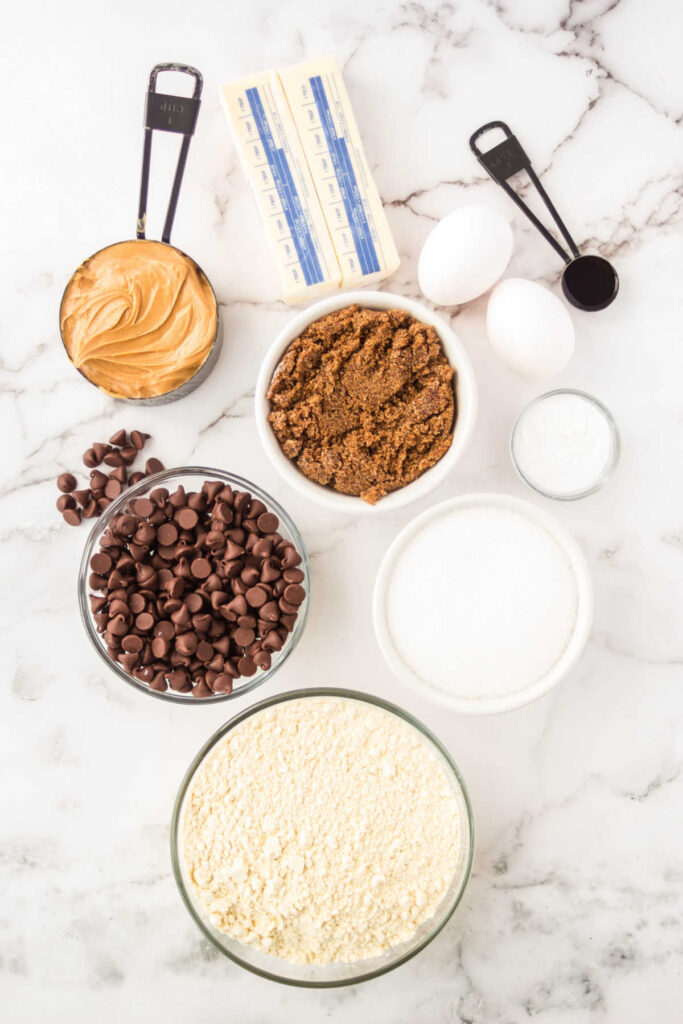 ingredients for peanut butter chocolate chip cookies