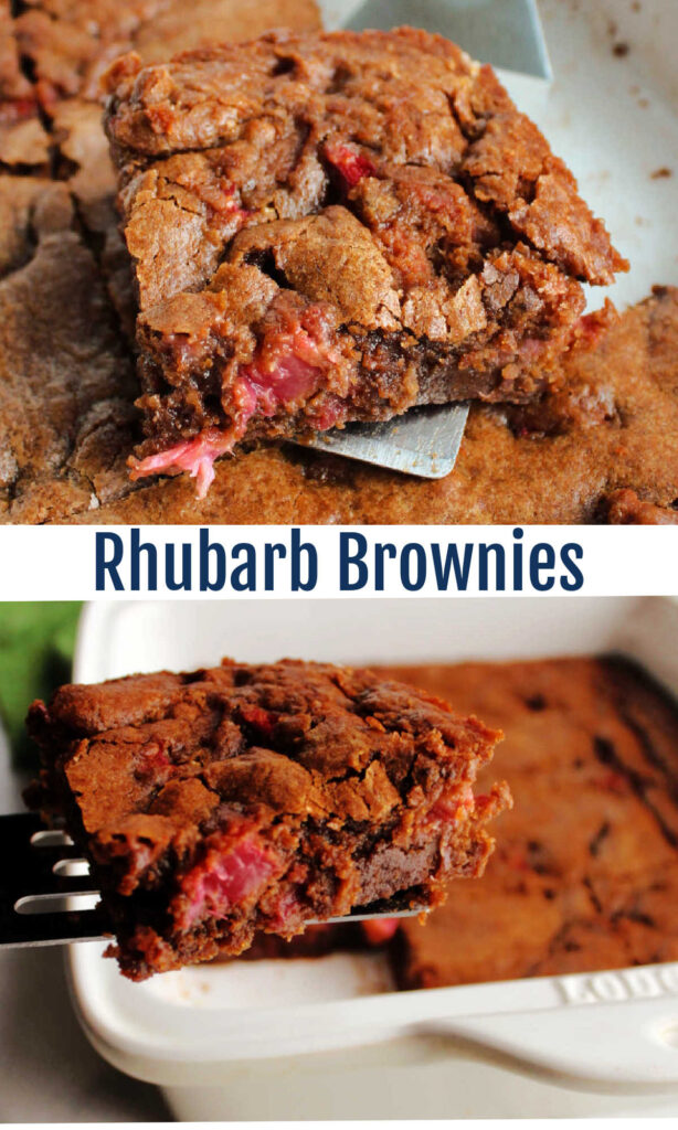 Rhubarb brownies combine rich fudgy chocolate and brown butter batter with bits of fresh rhubard. It may sounds like a strange combination, but trust me it works!