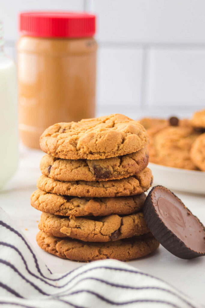 Stack of chewy peanut butter chocolate chip cookies.