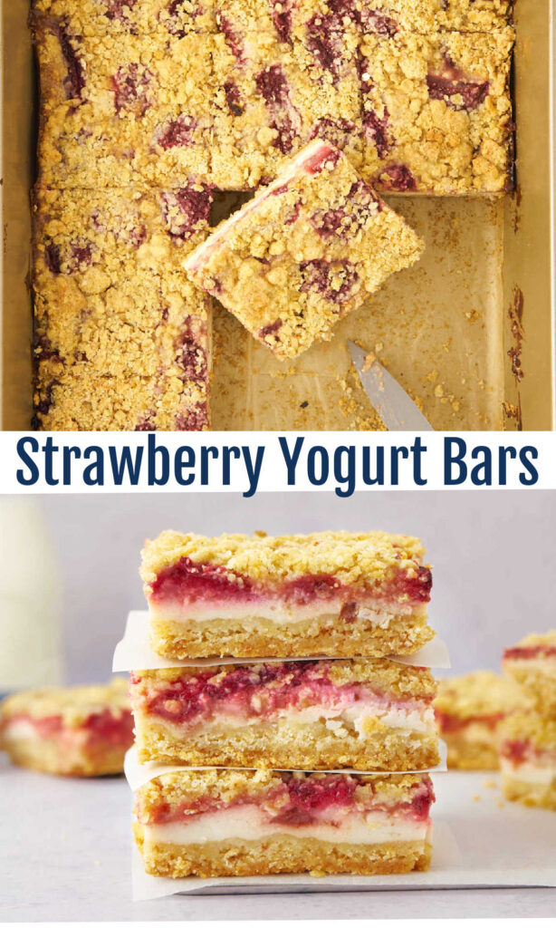 Strawberry yogurt crumb bars bring together fresh berries with a creamy yogurt layer all nestled between buttery crumbs. They are a magical way to celebrate spring sweetness.