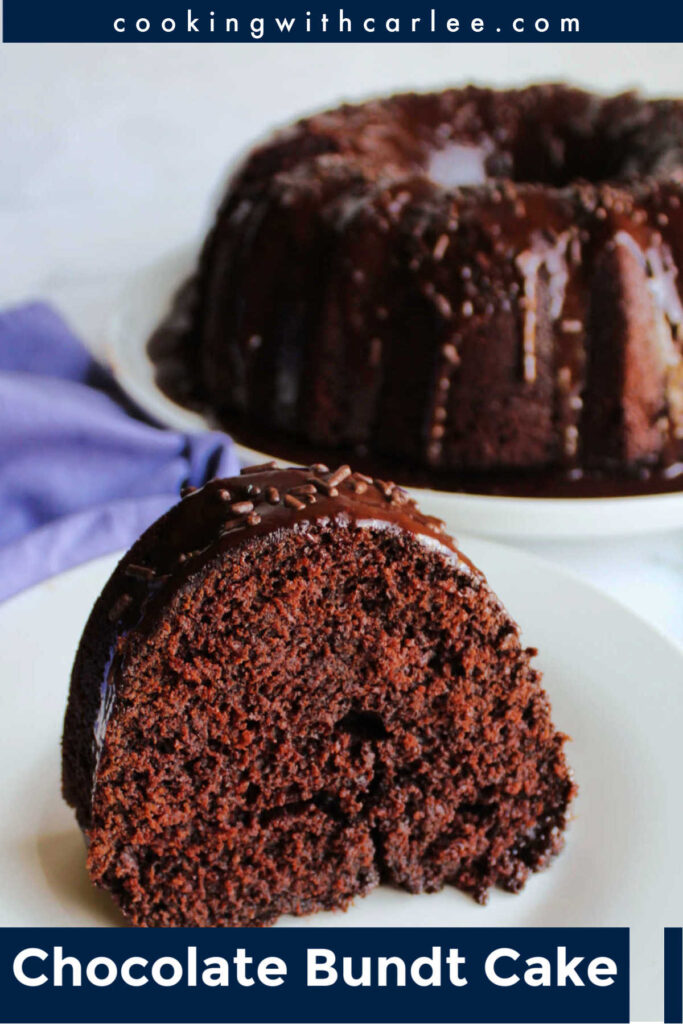 Whip up this chocolate Bundt cake with rich chocolate glaze for your next special event. The recipe is from scratch, but comes together quick and easily to make a moist chocolate cake.