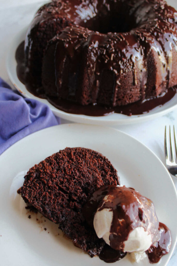 Chocolate bundt cake slice on plate with scoop of ice cream and fudge sauce.