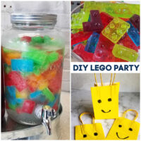 Collage of images from lego party.