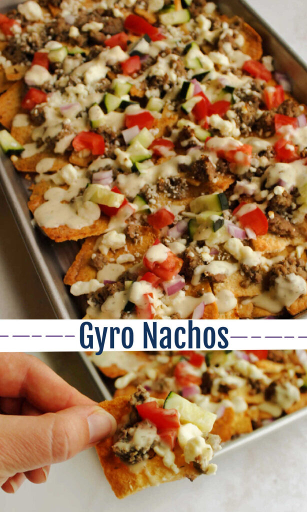 Tasty Greek nachos with all of the best toppings on top make for a great appetizer or a fun dinner. Pile them up with gyro inspired meat, plenty of veggies and a drizzle of tzatziki.